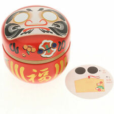 Japanese 100g Red Good Luck Wishes Daruma Tin Tea Canister 499-555 Made in Japan