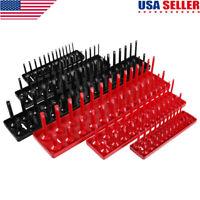 6Pc 1/4'' 3/8'' 1/2'' Metric SAE Socket Trays Rack Holder Rail Tool Organizer US