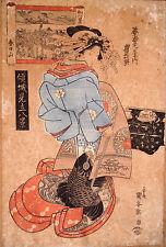 ESTAMPE-JAPON-UTAGAWA KUNIYASU-GEISHA-XIX eme-ELEGANTE-ENGRAVING-JAPAN-WOMAN-2/2