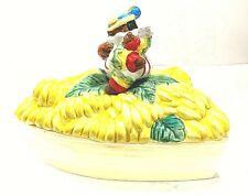 Black Americana Fitz Floyd Ceramic Tropical Rio Rita Banana Boat Dish with Lid