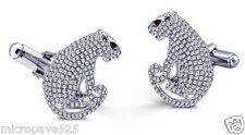 Exclusive 925 Silver Cufflinks White Panther Designer Mens Jewelry Set Zirconia