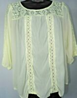 Mossimo Cream Sheer Lace 3/4 Sleeve Blouse Women's Size Small