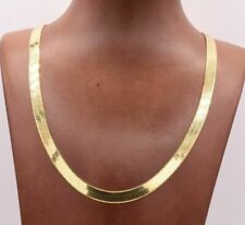 7mm Flexible Herringbone Chain Necklace Solid 14K Yellow Gold Clad Silver 925