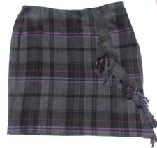 Ralph Lauren WOOL Skirt Size 13, 14 XL black purple red plaid wrap Classic NEW