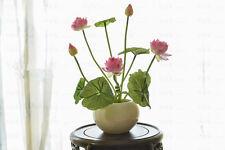 REAL TOUCH MINI LOTUS x 4-fiori artificiali-Rosa, Luce rosa, rosso, bianco