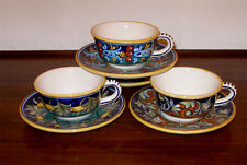 DERUTA POTTERY  GEOMETRIC VARIO CUPS AND SAUCERS, 4 SETS  FREE EXP. SHIPPING