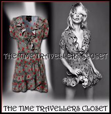 Topshop Kate Moss Iconic Red Spot Black White Snake Wrap Mini Dress Vintage UK 8