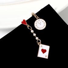 UK Clock Poker Asymmetric Dangle Earrings Cute Stud Women Jewelry
