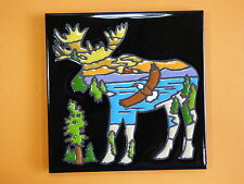 """Ceramic Art Tile 6""""x6"""" Moose lake forest mountain vibrant colors trivet wall I34"""