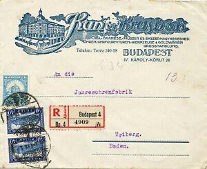 "UNGARN 1928, 2 f. u. 40 f. (2 x) a. Kab.-R-Brief von ""Budapest 4"" n. Triberg"
