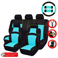 Universal Car Seat Covers Water Blue Black Steering Wheel Cover For Honda Nissan