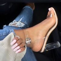 Sexy Women Open Toes Clear High Heels Sandals Ladies Ankle Strap Perspex Shoes