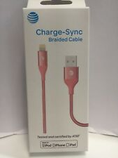 AT&T Charge Sync Braided Lightning USB Cable for Apple iPhone -Rose Gold - NEW
