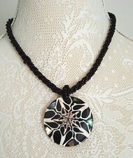 "Beautiful black multi strand seed bead 19"" necklace shell pendant Christmas Gift"