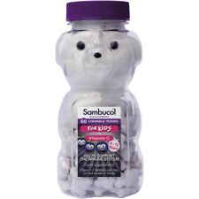 SAMBUCOL KIDS 60 Natural Black Elderberry Chewable Teddies +Vit C Immune Health