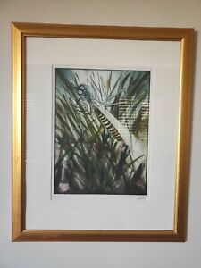 "Pro Hart Original Signed Print - ""Grasshopper and Reeds"""