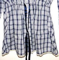 Ladies Long Tunic Blouse Checked blue white plaid BW Sleeve Large Size 44,46,48