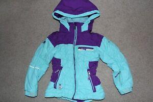 Girls Sz 6 Obermeyer GAIA Ski Snow Hood Waterproof Aqua Purple Parka Jacket Coat