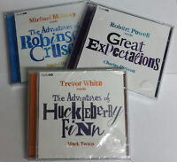 HUCKLEBERRY FINN ROBINSON CRUSOE GREAT EXPECTATIONS - 3 AUDIO CD case cracked