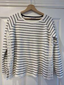 Women's Cream Per Una Weekend Striped Stripey Jumper - Size 14