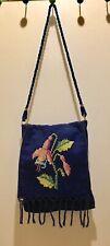 Vintage Cross Stitch Needle Point Embroidered Purse Flowers Blue Crossbody Boho