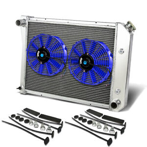 "SMALL BLOCK 262/305/400 MT THREE ROW/CORE ALUMINUM RADIATOR+9"" BLUE COOLING FANS"