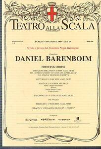GA25 Stampa reprint  Locandina Teatro alla Scala 14 dicembre 2009 D. Barenboim