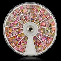 1200X Wheel Mixed Nail Art Tips Glitters Rhinestones Slice Decoration Manicure