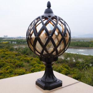 Vintage Tea Glass Globe Outdoor Driveway Pillar Mounted Light Garden Lamp Post