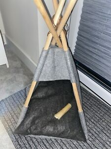 Small Pet Dog Teepee Tent House Bed Grey