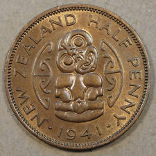 New listing New Zealand 1941 1/2 Penny Unc with some Red