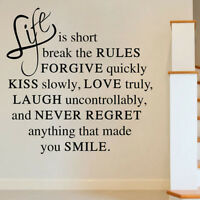 AGH Life Is Short Love Quote Wall Sticker Art Vinyl Decal Room Decor Removable