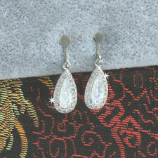White Gold Filled Made With Swarovski Crystal Teardrop Clip-On Earrings