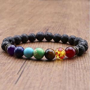 Reiki 7 Gemstone Chakra Lava Rock Stone Spacer Healing Bead Bangle Bracelet Gift