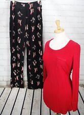 SOMA Knit Pajama Set High Heel Shoe Print Sleepwear Shirt + Pants Red Size S