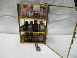 COLLECTION of 13 Ornate THIMBLES w DISPLAY CASE