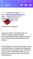 Manchester Pride 2018.  FREE Right of access into the gay village