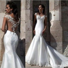 Charming Lace Satin Mermaid Wedding Dress White/Ivory Cap Sleeve Bridal Gown New