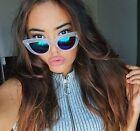 Kitty Cat Eye Mirrored Reflective Lens Sharp Edges Large Vampy Women Sunglasses