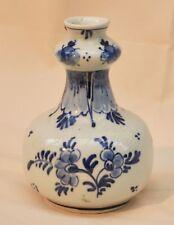 Vintage Delft Knobble Bud Vase Signed F over Delft H.ND C6 914