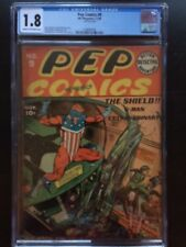 PEP COMICS #9 CGC GD- 1.8; CM-OW; classic Shield subway cover!