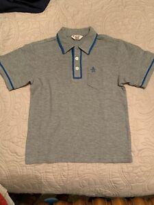 New! Boys Original Penguin Gray Short Sleeve Polo Collar Shirt 4t