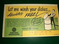 General Electric~1940s Let me Wash Your Dishes Portable Dishwasher Post Card