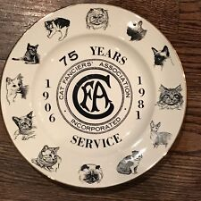 1 of 2 CAT FANCIERS ASSOCIATION 75th Anniversary Plate CFA Feline Breeds 1981
