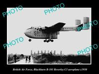 OLD LARGE HISTORIC PHOTO OF BRITISH AIR FORCE, RAF BLACKBURN BEVERLEY PLANE 1950
