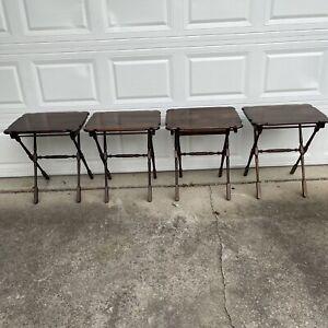Vintage 1960s Ethan Allen pine Tv tray tables 4 set side table snacks folding