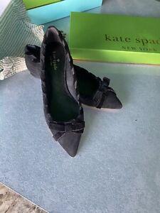 Kate Spade Kalani Black Suede Ballerina Flats, Size UK 4.5 / EU37.5