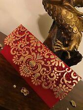 Set Of 10* Red Royal Vintage Laser Cut Wedding Invite Shagun Money Gift Envelope