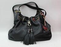 MICHAEL KORS Ladies Black Grain Leather Gold Hardware Shoulder Handbag