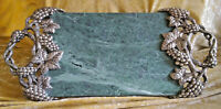 Vintage Marble and Silver Grape Vine Cheese Platter, Godinger Silver Art